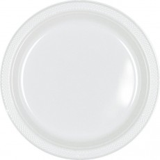 Round Frosty White Plastic Banquet Plates 26cm Pack of 20