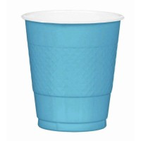 Blue Plastic Cups 355ml Caribbean Blue Pack of 20