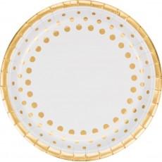 Round Gold Sparkle & Shine Dinner Plates 23cm Pack of 8