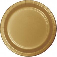 Round Glittering Gold Dinner Plates 23cm Pack of 24