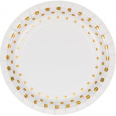 Round Gold Sparkle & Shine Lunch Plates 18cm Pack of 8