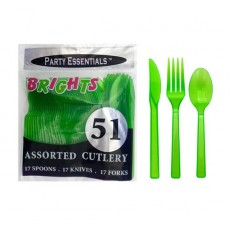Neon Green Quality Sturdy Plastic Cutlery Sets Pack of 51