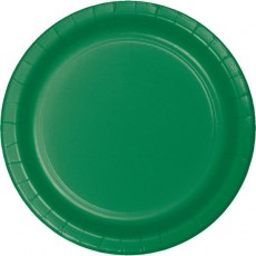 Round Emerald Green Celebration Paper Dinner Plates 22cm Pack of 8