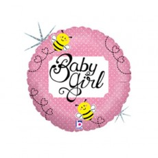 Baby Shower - General Foil Balloons 22cm Pink Bee Baby Girl