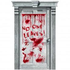Halloween Asylum Dripping Blood No One Leaves! Door Decoration 1.65m x 85cm