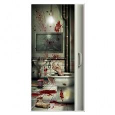 Halloween Creepy Crapper Restroom Toilet Door Decoration 76cm x 152cm