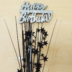 Happy Birthday Spangles 61cm Black & Silver Glittered Foam Spray Happy Birthday