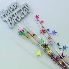 Happy Birthday Spangles 61cm Silver & Multi Coloured Glittered Foam Spray Happy Birthday