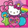 Hello Kitty Lunch Napkins 33cm x 33cm Rainbow Pack of 16
