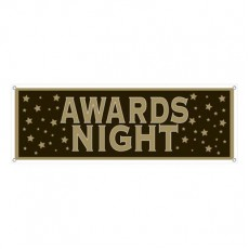 Black & Gold Hollywood Awards Night Sign Banner 53cm x 152cm