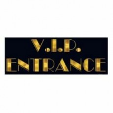 Black & Gold Hollywood V.I.P. Entrance Sign Hanging Decoration 20cm x 55cm