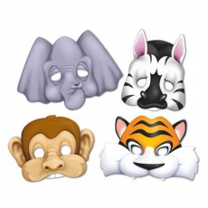 Jungle Animals Party Masks 24cm Assorted Colours Pack of 4