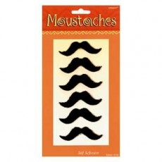 Black Mexican Fiesta Moustache Head Accessories for Adult Pack of 6