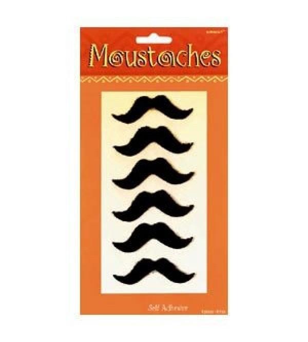 Moustache Misc Accessories 7.5cm Black Pack of 6