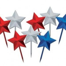 Blue, Red, Silver Multi Colour Stars Party Picks 7cm Pack of 8