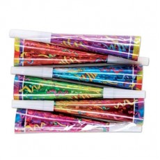Multi Coloured New Year Prismatic Party Horns 20cm Pack of 6