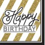 Black & Gold Happy Birthday Lunch Napkins 33cm x 33cm Pack of 16