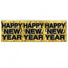 Black & Silver Metallic Fringe Happy New Year Banner
