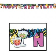 New Year Drinks Jointed Streamer Banner 15cm x 182cm