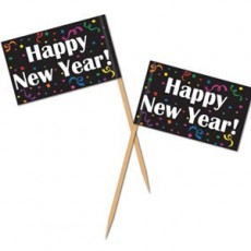 Happy New Year! Party Picks 6cm Pack of 50