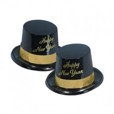 Black & Gold Legacy Plastic Top Hat Happy New Year Party Hat One Size Fits Most