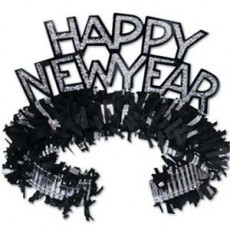 Glittered Black & Silver Happy New Year Tiara