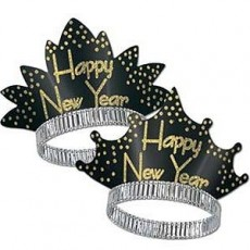 Sparkling Black & Gold Happy New Year Tiara One Size Fits Most