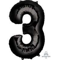 Numbers - 3 Air/Helium Balloons 86cm Black Number Shape Each