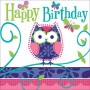 Owl Pal Lunch Napkins 33cm x 33cm Happy Birthday Pack of 16