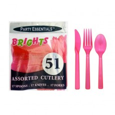 Neon Pink Quality Sturdy Cutlery Sets Pack of 51