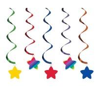 Rainbow & Stars Dizzy Danglers Swirls Hanging Decorations 91.4cm Pack of 5