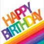 Rainbow Happy Birthday Lunch Napkins 32.7cm x 32.3cm Pack of 16