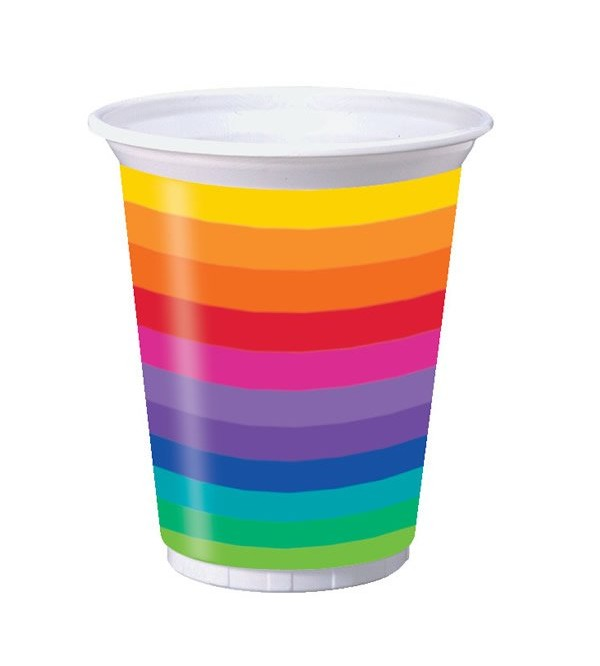 Rainbow Plastic Cups 473ml Pack of 8