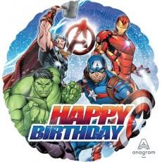 Round Avengers Standard HX Happy Birthday Foil Balloon 45cm