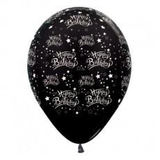 Teardrop Metallic Black Happy Birthday Stars Latex Balloons 30cm Pack of 25