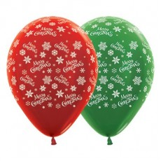 Teardrop Metallic Red & Forest Green Snowflakes Merry Christmas Latex Balloons 30cm Pack of 25