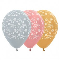 Teardrop Metallic Silver, Rose Gold & Gold Snowflakes Merry Christmas Latex Balloons 30cm Pack of 25