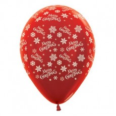 Teardrop Metallic Red Snowflakes Merry Christmas Latex Balloons 30cm Pack of 25