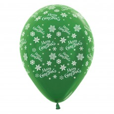 Teardrop Metallic Forest Green Snowflakes Merry Christmas Latex Balloons 30cm Pack of 6