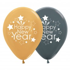 Teardrop Metallic Gold & Graphite Happy New Year Latex Balloons 30cm Pack of 25