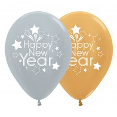 Teardrop Metallic Silver & Gold Happy New Year Latex Balloons 30cm Pack of 25