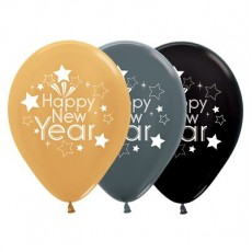 Teardrop Metallic Gold, Graphite & Black Happy New Year Latex Balloons 30cm Pack of 25