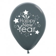 Teardrop Metallic Graphite Happy New Year Latex Balloons 30cm Pack of 6
