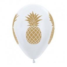 Hawaiian Party Decorations White Tropical Pineapple Latex Balloons 6pk
