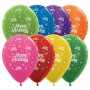 Teardrop Metallic Assorted Colours Happy Birthday Twinkling Stars Latex Balloons 30cm Pack of 25