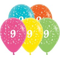 Number 9 Latex Balloons 30cm Tropical Multi Coloured Pack of 25