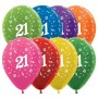 21st Birthday Latex Balloons 30cm Metallic Multi Coloured Pack of 25