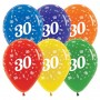 30th Birthday Latex Balloons 30cm Jewel Crystal Multi Colour Pack of 25 Teardrop