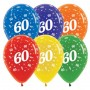 60th Birthday Latex Balloons 30cm Jewel Crystal Multi Colour Pack of 25 Teardrop