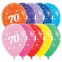 Teardrop Fashion Multi Coloured 70th Birthday Latex Balloons 30cm Pack of 25